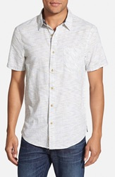 1901 Trim Fit Short Sleeve Ikat Woven Shirt White Horizontal Ikat