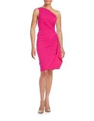 Nicole Bakti Ruched One Shoulder Sheath Dress Fuchsia