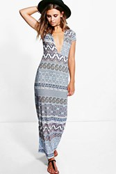 Boohoo Tilly Plunge Neck Cap Sleeve Maxi Dress Blue