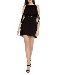 Halston Heritage Color Block Convertible Belted Dress Black Parchment