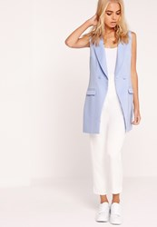 Missguided Sleeveless Button Detail Tailored Jacket Blue Blue