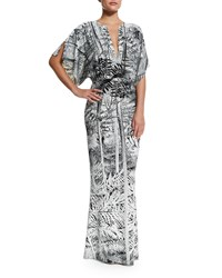 Norma Kamali Obie Printed V Neck Coverup Gown Jungle