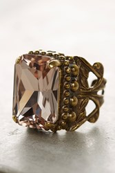 Anthropologie Ancelle Crystal Cocktail Ring Pink