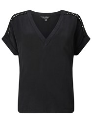 Miss Selfridge Lace Insert V Neck T Shirt Black