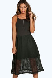Boohoo Mesh Overlay Strappy Midi Skater Dress Black
