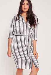 Missguided Plus Size Stripe Belted Shirt Dress White White