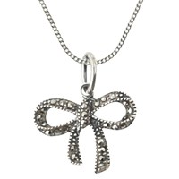 Nina B Sterling Silver Marcasite Bow Pendant Silver