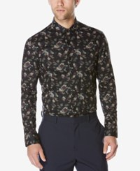 Perry Ellis Men's Multi Color Abstract Print Shirt Black