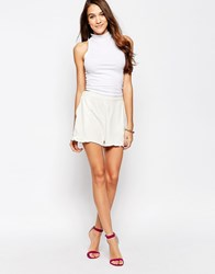 Neon Rose Shorts With Side Frill White