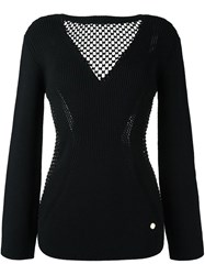 Versace Collection Sheer Panel Jumper Black