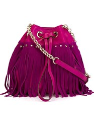 Diane Von Furstenberg Drawstring Fringed Crossbody Bag Pink And Purple