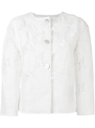 Ermanno Scervino Crochet Cropped Jacket White