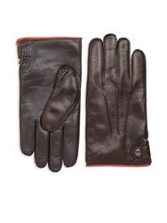 Saks Fifth Avenue Nappa Touch Tech Leather Gloves Black Dark Brown
