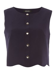 Girls On Film Sleeveless Button Front Top Navy