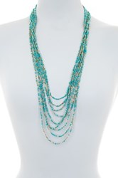 Spring Street Tri Tone Beaded Long Necklace Blue