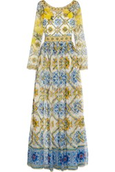 Dolce And Gabbana Printed Silk Chiffon Gown Sky Blue Yellow