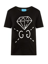 Guccighost Print Cotton T Shirt Black Multi