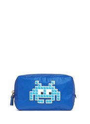 Anya Hindmarch 'Space Invaders' Leather Character Reflective Nylon Cosmetics Pouch Blue