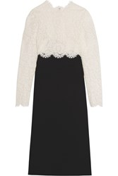 Valentino Lace And Wool And Silk Blend Crepe Midi Dress Black