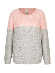 Yumi Two Toned Cable Knit Jumper Grey