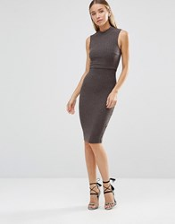 Ax Paris Ribbed Knitted Bodycon Overlay Midi Dress Charcoal Grey