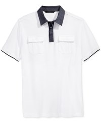 Sean John Men's Contrast Trim Polo Bright White