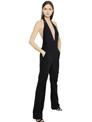 Thierry Mugler Open Back Halter Neck Cady Jumpsuit Black
