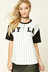 Forever 21 Ny La Striped Baseball Tee White Black
