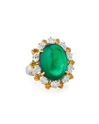 Oscar Heyman Emerald Cabochon Ring With Yellow And White Diamonds In Platinum