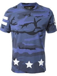 Hydrogen 'Hockey' Camouflage T Shirt Blue