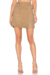 Vince Belted Suede Skirt Taupe