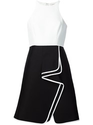 Halston Heritage Contrast Trim Ruffled A Line Skirt Black