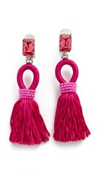 Oscar De La Renta Short Silk Tassel Clip On Earrings Fuchsia