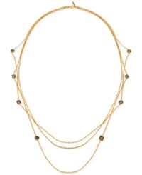 T Tahari Gold Tone Black And Clear Crystal Long Multi Layer Necklace
