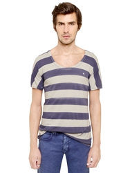 Cycle Striped Cotton Jersey T Shirt Blue Off White