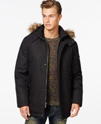 Buffalo David Bitton Big And Tall Faux Fur Dobby Tech Hooded Parka Jacket Black