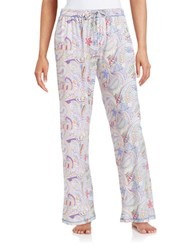 Lord And Taylor Printed Pajama Pants Paisley White