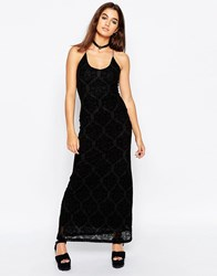 Motel Alexandra Maxi Lace Dress With Flocking Black Lace