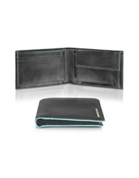 Piquadro Blue Square Men's Leather Card Holder And Id Wallet Black
