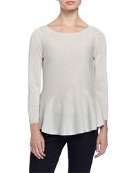 Philosophy Cashmere 3 4 Sleeve Metallic Knit Peplum Sweater Pure Snowflake