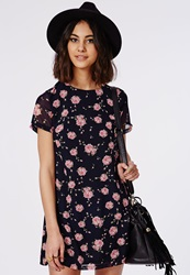 Missguided Chiffon Floaty T Shirt Dress Navy Floral Blue