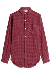 Current Elliott Printed Shirt With Frayed Hem Red