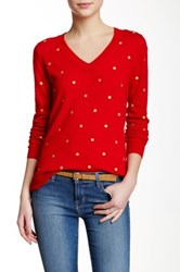 J.Crew Factory Embroidered Polka Dot Sweater Multi