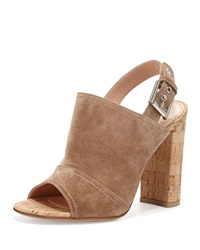Gianvito Rossi Suede Slingback Mule Sandal Bisque
