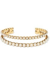 Marc Jacobs Gold Plated Faux Pearl Cuff Gold Cream