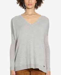Polo Ralph Lauren Relaxed V Neck Sweater Fawn Grey Heather