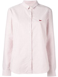 Maison Kitsune Striped Shirt Red