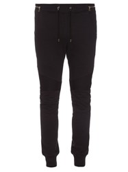 Balmain Biker Slim Leg Cotton Track Pants Navy