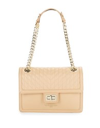 Karl Lagerfeld Convertible Leather Shoulder Bag Nude