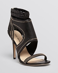 Via Spiga Open Toe Studded Sandals Taletha High Heel Black